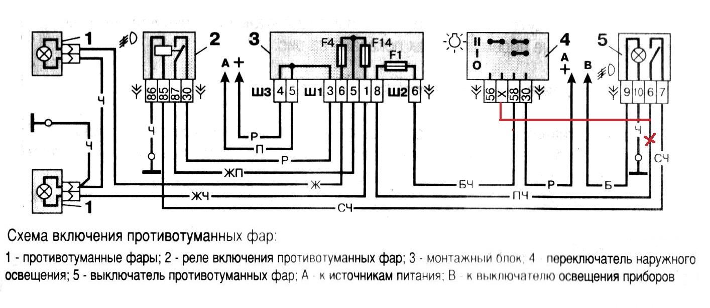схема подключения птф на калину