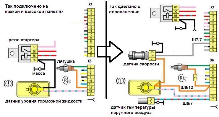 Схема проводки датчика скорости ваз
