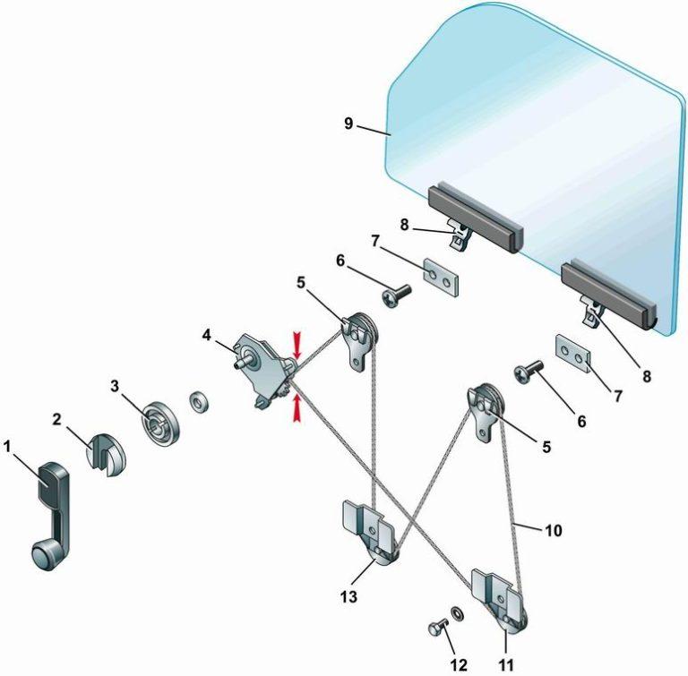 схема передней левой двери приора