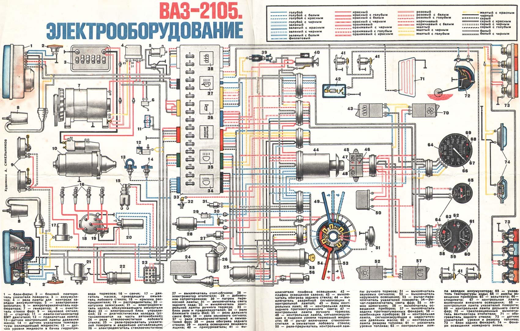 схема проводки ваз 2113