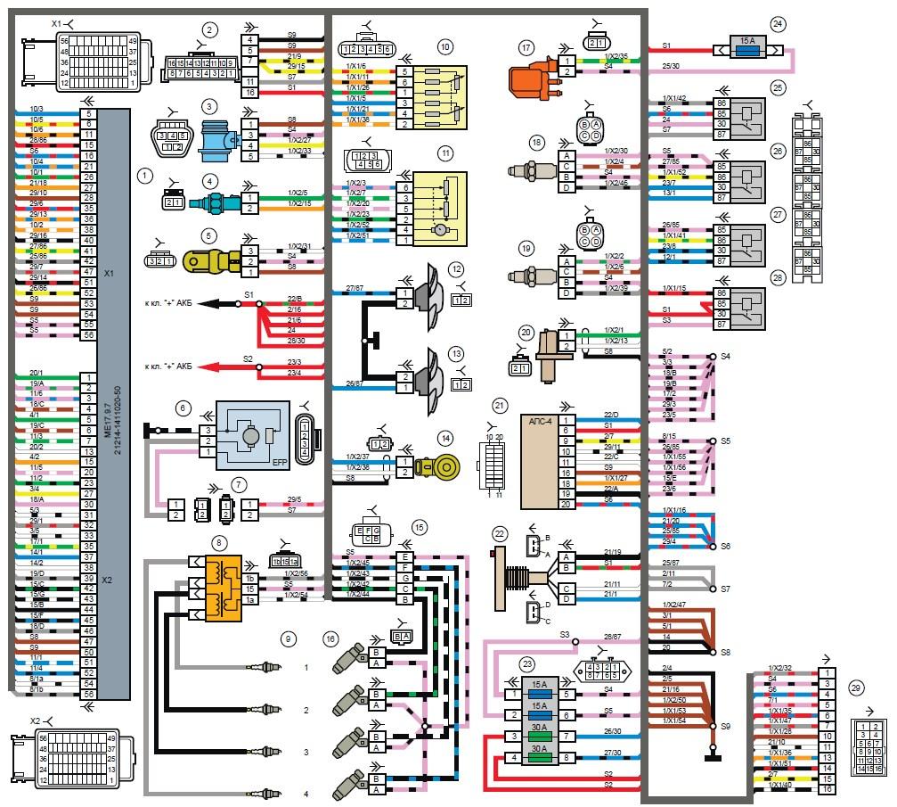 Схема подключения нива 21214